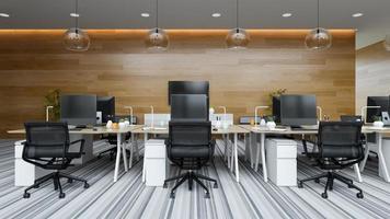 ufficio moderno interno dello spazio aperto nell'illustrazione 3d foto