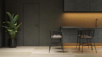 interni minimalisti neri di una casa moderna in rendering 3d foto