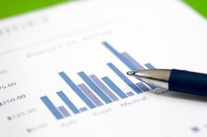 grafici finanziari e penna foto