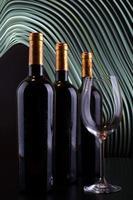 bottiglie di vino e vetro con sfondo di linee bianche foto