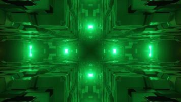Illustrazione 3D degli angoli del cubo geometrico e delle luci verdi lontane