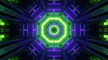 motivo geometrico simmetrico con luci al neon 3d illustrazione