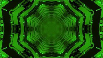Illustrazione geometrica 3d di ripetizione di picchiettii dinamici a forma di fiocco di neve verde