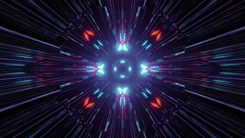 illuminazione al neon nell'oscurità che formano il modello astratto nell'illustrazione 3d foto