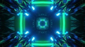 passaggio geometrico con illuminazione futuristica illustrazione 3d
