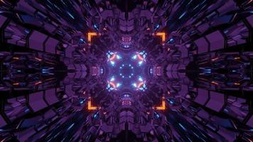3d illustrazione del futuristico tunnel geometrico