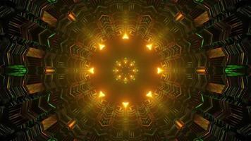 illustrazione 3d astratta del tunnel sferico geometrico con luci gialle