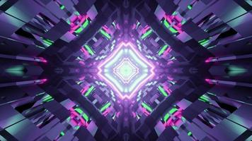 Illustrazione 3D del disegno geometrico frattale con illuminazione brillante