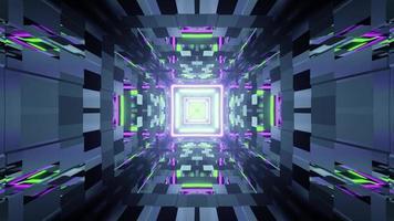 Illustrazione 3D del tunnel geometrico con luci al neon