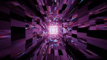 motivo geometrico che riflette l'illuminazione al neon nell'illustrazione 3d