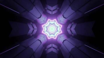 Tunnel di fantascienza con illustrazione 3d di luci a forma geometrica incandescente