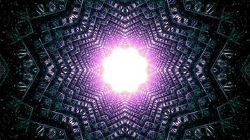 tunnel a forma di stella magica con illustrazione 3d foro incandescente foto