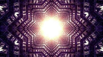 luce magica nell'illustrazione 3d tunnel a forma di stella foto