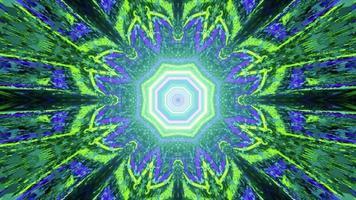incandescente caleidoscopio ornamento al neon 3d'illustrazione foto