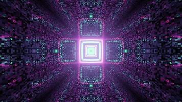 ornamento a forma di croce geometrica che brilla sul tunnel colorato nell'illustrazione 3d