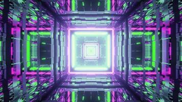 tunnel geometrico con pareti riflettenti 3d'illustrazione