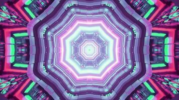 Neon colorato tunnel 3d illustrazione con ornamento geometrico