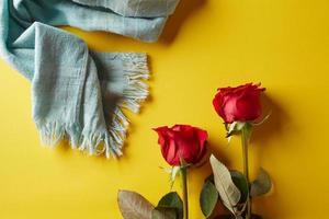 rose su uno sfondo giallo foto