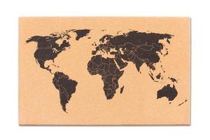 mappa del mondo sulla trama della bacheca di sughero foto