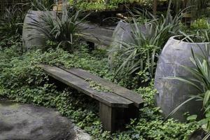 panchina in un giardino foto