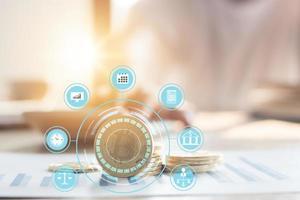bitcoin, concetto di rete di pagamento innovativo foto