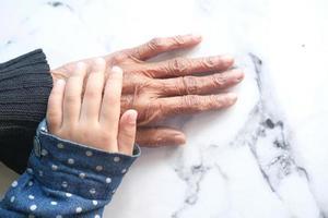 colpo di dettaglio della ragazza del bambino che tiene la mano di una donna anziana foto