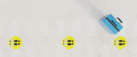 Piano 3d con indicazioni per la distanza sociale con la valigia blu foto