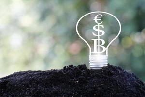 lampadina a risparmio energetico e denaro per affari o finanza foto