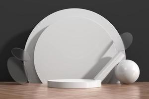 vetrina bianca astratta del podio per l'esposizione del prodotto con la decorazione della forma della geometria, rendering 3d foto