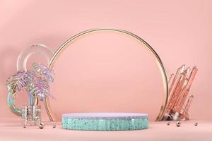 podio per vetrina espositiva con vaso monstera e decorazioni in cristallo, rendering 3d foto