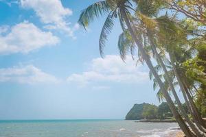 spiaggia tropicale nella stagione estiva con uno sfondo di cielo blu foto