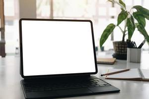 tablet con mock-up di tastiera foto