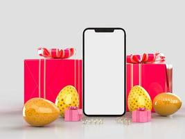 sfondo creativo di vacanze di Pasqua con mock up smartphone foto