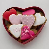vista dall'alto di deliziosi biscotti di San Valentino foto