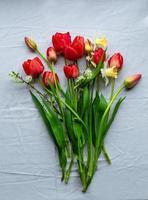 Lay piatto con tulipani appena tagliati da giardino e narcisi sulla tovaglia bianca foto
