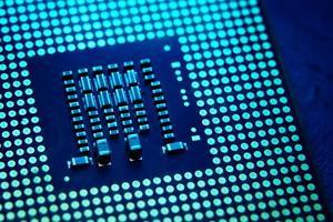cpu, processore per computer con chip foto