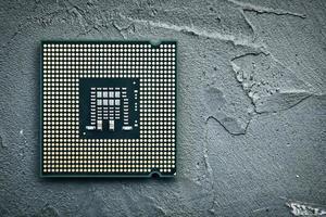 primo piano della cpu, processore del computer con chip foto