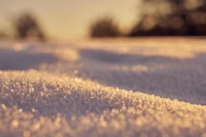 primo piano di neve sul terreno foto