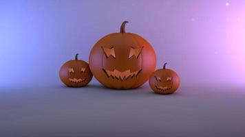 sfondo di Halloween di zucche con uno sfondo blu foto