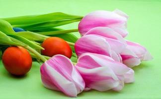 tulipani su uno sfondo verde foto
