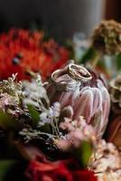 anelli di nozze d'oro sotto la corteccia di un albero