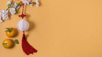 sfondo giallo di concetto di capodanno cinese foto