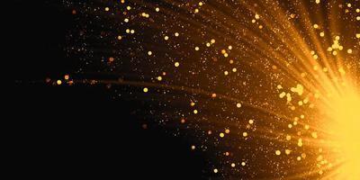onde incandescenti con effetto luce dorata su sfondo nero, illustrazione 3d foto