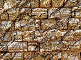 primo piano del muro di pietra o roccia per lo sfondo o la trama foto