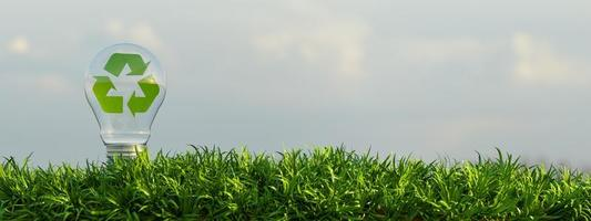 bulbo di vetro su un terreno pieno di vegetazione con all'interno il simbolo del riciclaggio verde, rendering 3d