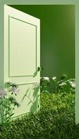 piano chiuso di una porta verde aperta con vegetazione e fiori sul pavimento, 3d'illustrazione