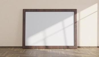 mockup con grande cornice in legno su pavimento in parquet illuminato dalla luce proveniente dalla finestra, rendering 3d foto