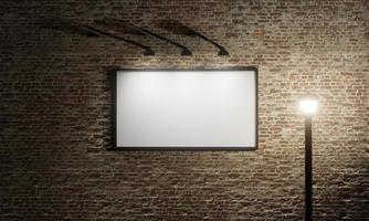 poster pubblicitario su un muro di mattoni con una lanterna, rendering 3d foto