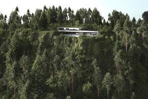 casa moderna su una montagna verde lussureggiante foto