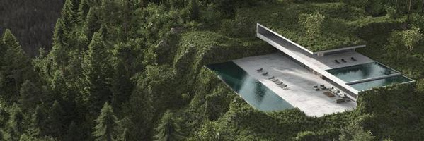 casa minimalista in una foresta foto